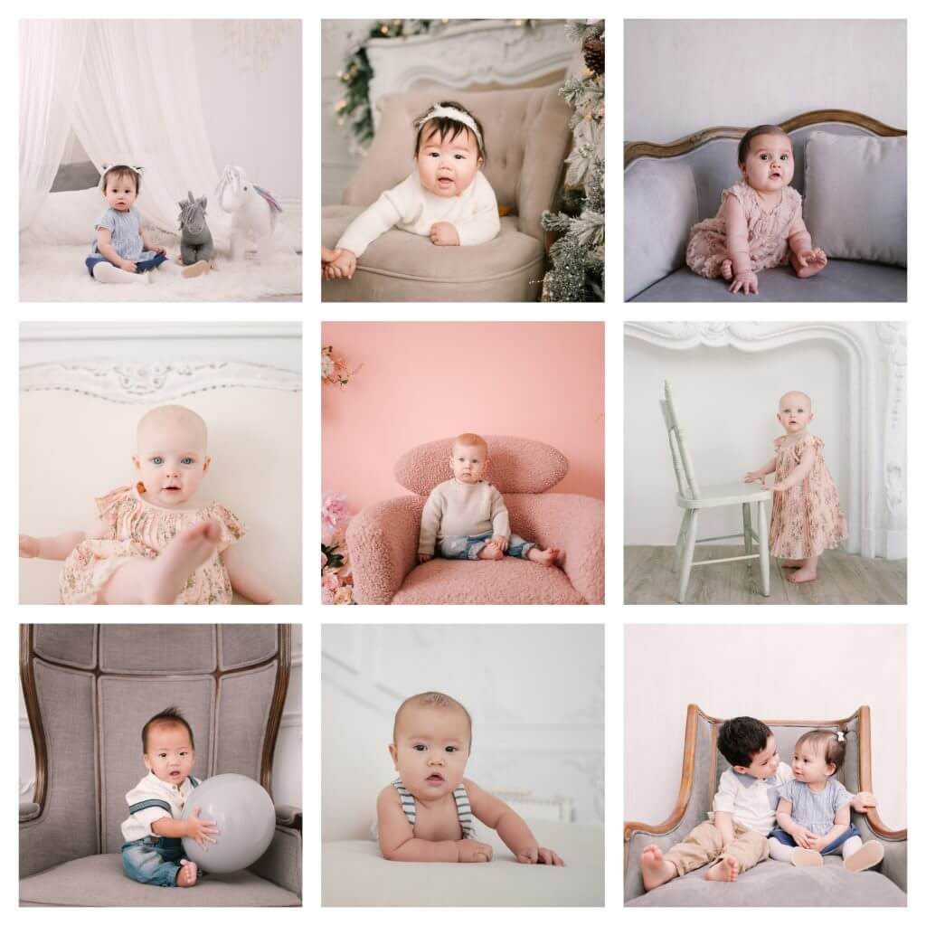 in-studio sitter and baby milestone sessions